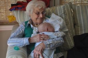 Grandma holding a twin